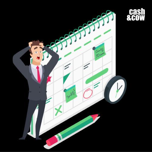 Person steht vor einem Kalender und hat eine Frist versäumt