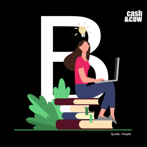 Junge Frau sitzt auf Büchern und hält ein Laptop